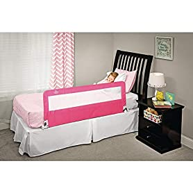 Regalo Hideaway 54-Inch Extra Long Bed Rail Guard, with Reinforced Anchor Safety System, Pink 2