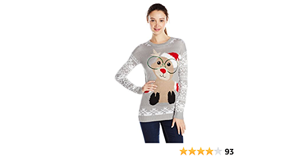 Derek Heart Juniors Plus-Size Nerdy Reindeer Ugly Christmas Sweater