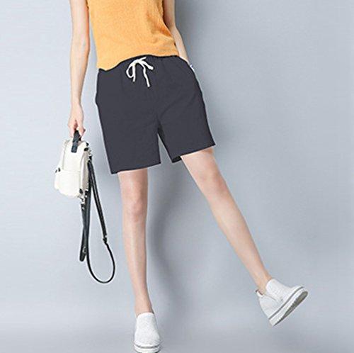 Lino Con Corti Coulisse Pantaloncini Scuro Jitong Per Oversize Unita Tinta Pantaloni Spiaggia Di Traspirante Donna Grigio wpTqtHT