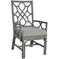 East at Main Megan Chippendale Grey Rattan Arm Chair, (22.5x25x38.5)