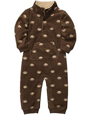 Carter's Boys Football Microfleece 1 Pc Coveralls Jumpsuit Brown