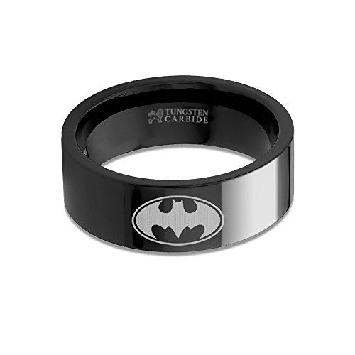 Batman Logo Laser Engraved Black Tungsten Ring, Flat, Polished - 8 mm