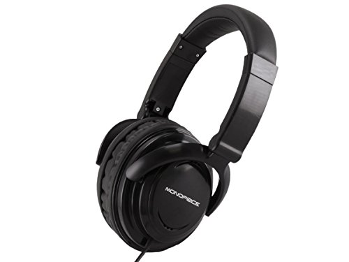 Monoprice Hi-Fi Light Weight Over the Ear Headphones - Black with a 50mm driver and a 47in 3.5mm cable for Apple Iphone iPod Android Smartphone Samsung Galaxy Tablets MP3