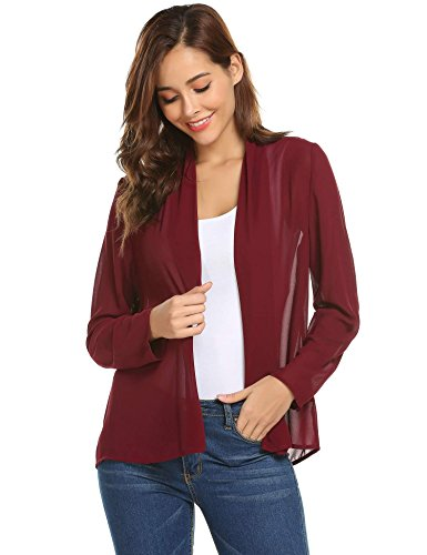 Concep Women's Sheer Chiffon Kimono Cardigan Blouse Loose Beach Cover up Wine Red (Mesh Blazer)