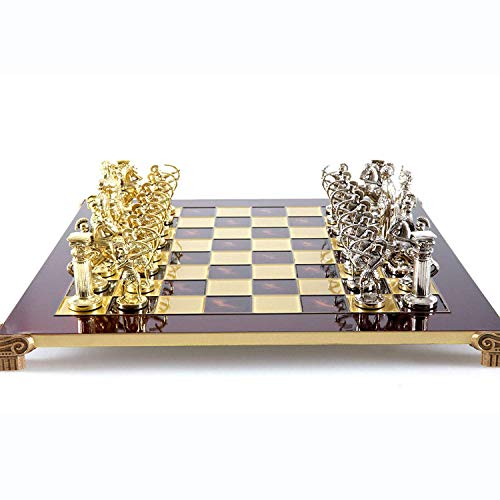 Manopoulos Archers Large Chess Set – Brass&Nickel – Red Chess Board