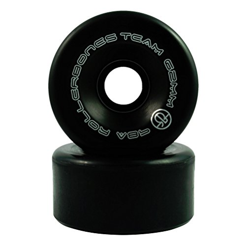 RollerBones Team Logo Recreational Roller Skate Wheels (Set of 8), Black, 62mm ()