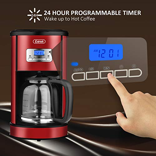 Coffee Maker GEVI 12 Cup Coffee Machine Stainless Programmable Setting Silent Operation Drip Coffeemaker with Coffee Pot and Filter for Home and Office (red)