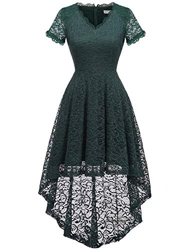 MODECRUSH Womens Ruffle Sleeve Formal Hi Low Floral Lace Cocktail Party Dresses M Blackishgreen