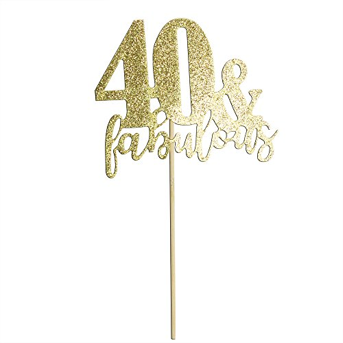 Happy Birthday Cake Topper 40th Birthday Cupcake Topper for Party Supply Decoration -40 & Fabulous Premium Quality