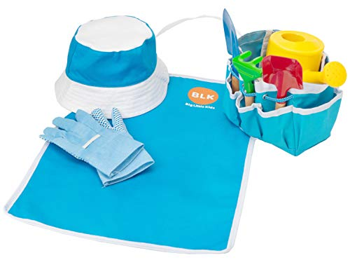 Big Little Kids Complete Garden Set Toy for Kids, Toddlers, Tikes | Gardening Tool Set Perfect for Outdoors, Backyard, Lawn with Shovel, Rake, Gardening Gloves, Tote Bag, Apron, Plastic Water Can