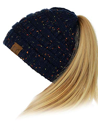 C.C BeanieTail Soft Stretch Cable Knit Messy High Bun Ponytail Beanie Hat, Confetti Navy