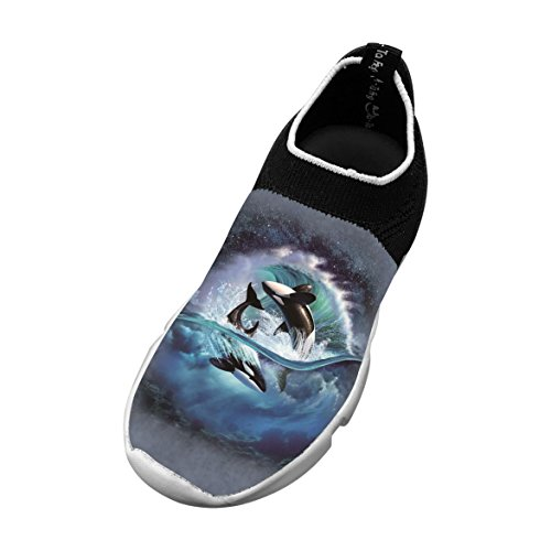 New Slim fit Flywire Weaving Jogging Shoes 3D Ceative With Dolphin For Boys Girls