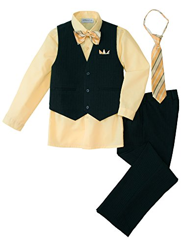 (Spring Notion Baby Boys' 5 Piece Pinstriped Vest Set Yellow 24 Months)