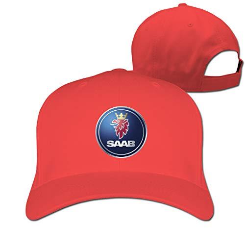 HANRUI General Motors Saab Logo Cool 100% Organic Cotton Peak Cap for Mens Casquette Red