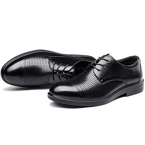 Formales Baja Zapatos Hombre Cordones para Punta Hombres De De Redonda Negro De Orificios para Cuero con De con Verano Color De Zapatos Respirables B Negocios qIqwB