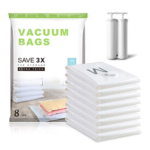 Embossed Vacuum Storage Bags - Strong 120 Micron (40% Thicker) - 8 Medium (28x20) Double Zip Seal Space Saver Bags with Free Double Hand Pump 80% More Space for Clothes Blanket Towel Garment