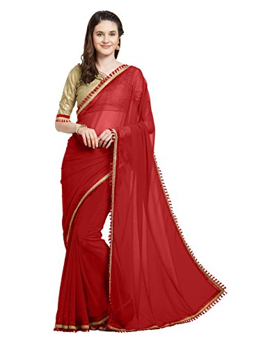 Latest Sourbh Women's Faux Georgette Tassel Fancy Lace Bollywood Dress Saree(5771_Red) Saree 9