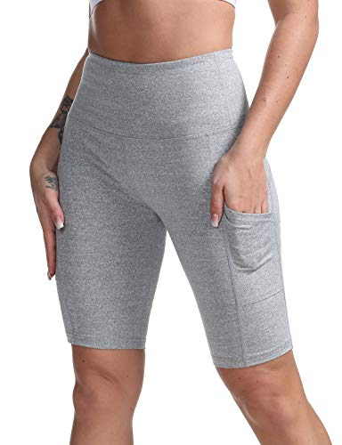 Top Bike Shorts - DILANNI Women High Waist Yoga Shorts Side Pocket Tummy Control Workout Running Athletic Short Pants Light Grey XL