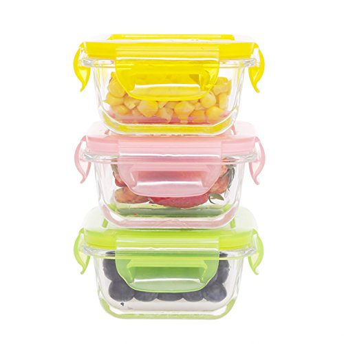 Meal Set Mini (Mini Glass Baby Food Containers Storage-3 Pieces Small Reusable Multi-color Meal Prep Containers, BPA Free Airtight Locking Lids, Microwave, Oven, and Dishwasher Safe(5.08oz,0.64cup,Square))