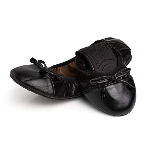 Talaria Flats Womens Foldable Ballet Flats Size 9 Black/Black