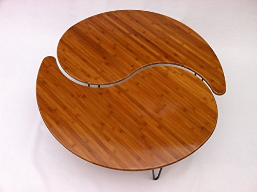 Amazon.com: Yin Yang Nesting Large Round Coffee Table   Mid Century Modern    Atomic Era Design In Bamboo   Comes As A Pair Of Two: Kitchen U0026 Dining