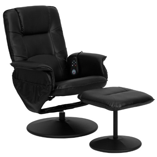 Winston Direct Comfort Series Massaging Black Leather Recliner and Ottoman with Leather Wrapped Base