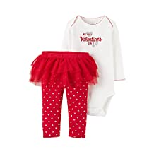 Just One You by Carter's Baby Girls First Valentines Day Bodysuit with Tutu Pants Set (Newborn, Red and White - My First Valentine's Day)