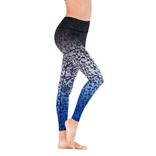 Women Printed Yoga Pants Power Flex High Waist Workout Yoga Leggings Stretch Tummy Control Capri for Gym Exercise Fitness (Butterfly, XL)