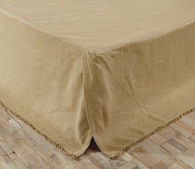 VHC Brands Classic Country Farmhouse Burlap Natural Tan Fringed Bed Skirt, Queen