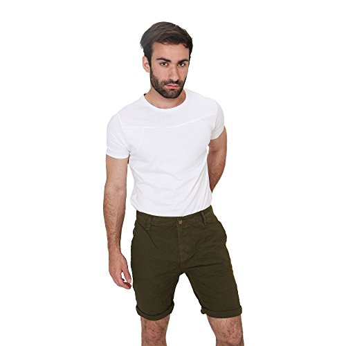 Pantaloncini Uomo Bermuda Shorts in Cotone Estate Casual Smiling London Verde Army