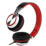 Intone Ms200 Stereo Low Bass Folding and Adjustable Headphone Earbuds - Black / Red