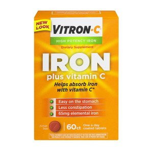 Vitron-C High Potency Iron Supplement with Vitamin C, Pack of 4 (60 Count Each) Nksl3hk by Vitron-C