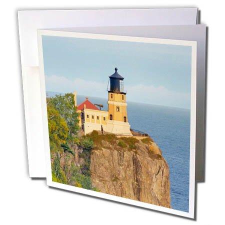 nt - Lighthouses - Minnesota, Lake Superior North Shore. Split Rock Lighthouse - 1 Greeting Card with envelope (gc_279142_5) ()