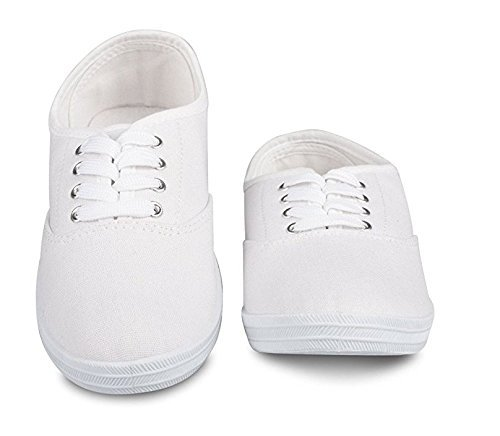 Women's Lace Up Canvas Casual Basic Athletic Shoe Sneakers (8.5, White) Canvas Lace Up Shoes