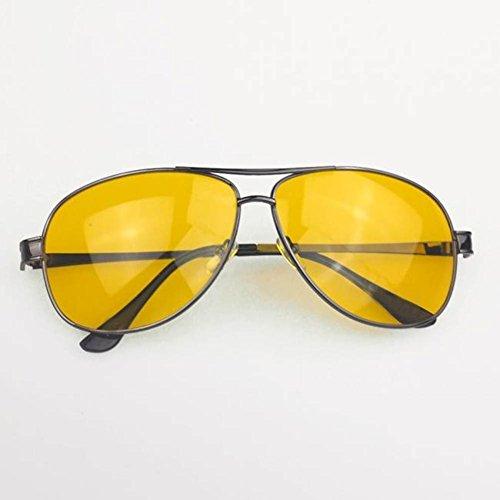 PanDaDa Men Yellow HD Night Vision Aviator Driving Cycling Anti Glare Eyewear