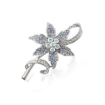 hot Blue Wild Flower Brooch - Silver Tone - 4.5 cm