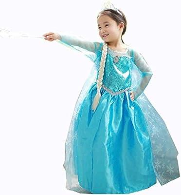 JZK Vestido Largo Azul Traje de Reina Hielo Vestido Elsa Princesa ...