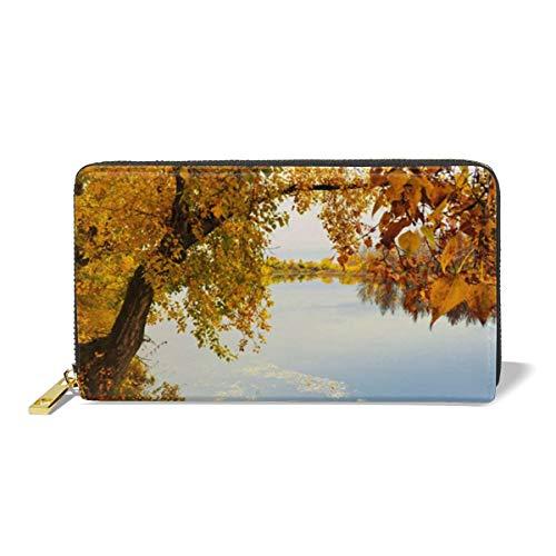 Leather Wallet Zipper Around Clutch Purse Waterproof Card