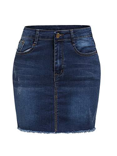 Romwe Women's Summer Raw Hem Jean Mini Bodycon Pencil Denim Skirt Blue_Plus 2X