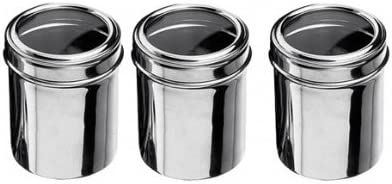 Set Of 3 Storage Jars Mirror Polished Stainless Steel With Clear Lid Ideal Storage Canisters For Tea Coffee Sugar Or Dried Food Stuff Amazon Co Uk Kitchen Home