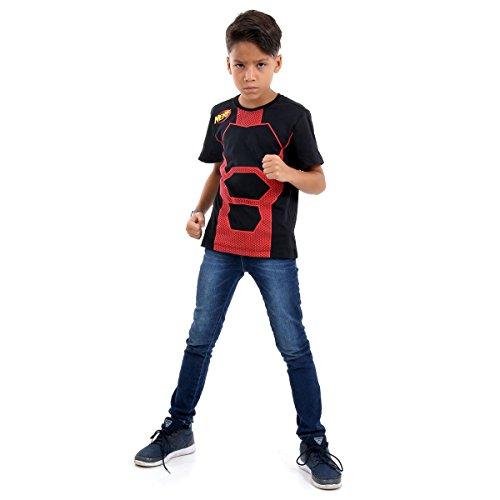 Camiseta Nerf Luxo Infantil Sulamericana Fantasias Preto/Vermelho G 10/12 Anos