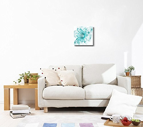 Beautiful Blue Flower on White Background Computer Generated Graphics Wall Decor Wood Framed