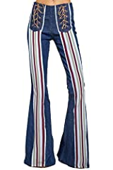 Women's Classic Retro Mid Waist Long Denim Bell Bottom Jeans★Jeans have an elastic waistband,with two back pockets★Rainbow stripe up the front of the leg leading to a faux lace up★Retro bell bottoms,Bohemian style,These flare jeans look good ...