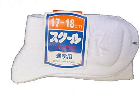 (日本製の技)男女兼用 スクールソックス 通学用 白色 2足組