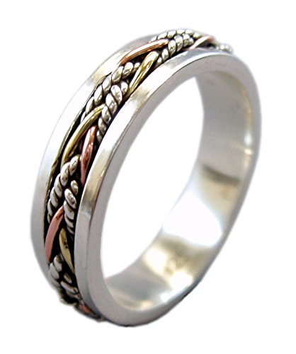 5.5 mm Narrow Band Tri-Color Twine Meditation Spinning Ring (Style# US40) (9) (Prayer Spin Ring)