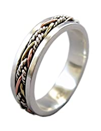 "Energy Stone ""TWINE"" 5.5 mm Narrow Band Tri-Color Twine Meditation Spinning Ring (Style SRS40)"