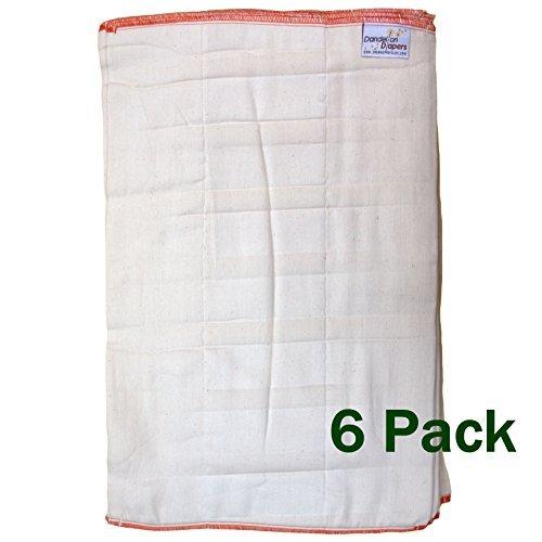 0% Organic Cotton Natural Unbleached DSQ Cloth Diaper Prefolds Half Dozen 6-Pack - Size 4 Standard (Natural Cotton Diapers)