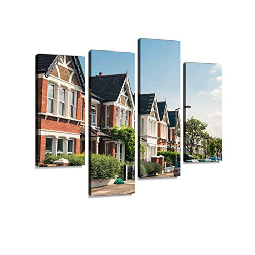 (South London - Victorian Housing Canvas Wall Art Hanging Paintings Modern Artwork Abstract Picture Prints Home Decoration Gift Unique Designed Framed 4 Panel)