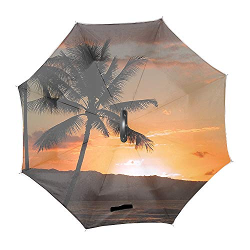 - Hawaiian Sunset Beach Inverted Umbrella – Double deck waterproof umbrella, C-Shape Handle & Self-Stand to Spare Hands, Inside-Out Fold to Keep Cars Dry