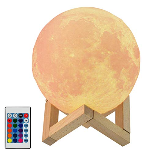 3D Moon Lamp,Yolyoo 16 Colors LED Moon Night Light Decorative Printed Night Light,Remote & Touch Control,USB Recharge and Wooden Stand for Baby Kids Lovers Gift 5.9 inch